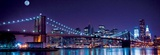 Brooklyn Bridge and Manhattan Skyline with a Full Moon Overhead Print by  Littleny