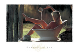 Cowgirl in Tub Poster by David R. Stoecklein