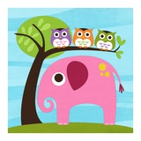 Elephant with Three Owls Prints by Nancy Lee