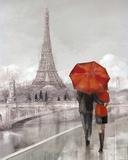 Couple in Paris Print by Ruane Manning