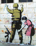 Girl Searching Soldier Print by  Banksy