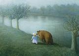 Michael Sowa - Girl with Bear - Reprodüksiyon