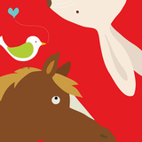 Farm Group: Rabbit and Horse Print by Yuko Lau