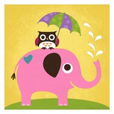 Nancy Lee - Slon a sova s deštníkem Plakát