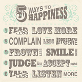 Five Ways to Happiness Prints by  Havoc Gifts