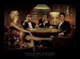 Quatre d'une sorte, jouant au poker Affiches par Chris Consani