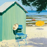 Green Beach Hut Prints by Henri Deuil
