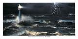 Blitze am Leuchtturm Kunstdruck von Steve Bloom