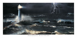Lightning at the Lighthouse Print by Steve Bloom