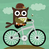 Owl and Hedgehog on Bicycle Prints by Nancy Lee