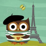 Owl in Paris Poster by Nancy Lee