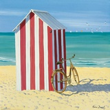Red and White Beach Hut Print by Henri Deuil