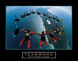 Teamwork – Skydiving Print by  Unknown