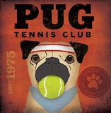 Pug Tennis Club Art by Stephen Fowler