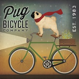 Pug on a Bike Poster di Ryan Fowler