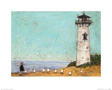 Seven Sisters and a Lighthouse Print by Sam Toft