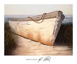 White Boat Prints by Karl Soderlund