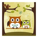 Two Owls on Swing Posters by Nancy Lee