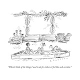 """When I think of the things I used to do for stickers, I feel like such an..."" - New Yorker Cartoon Giclee Print by Barbara Smaller"