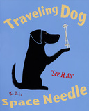 Traveling Dog Space Needle Art by Ken Bailey