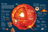 Infographic About the Characteristics of the Sun and Chemical Reactions in its Core Posters