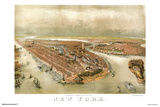 New York City Panoramic Map 1874 Print
