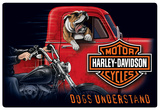 Harley-Davidson Dogs Understand Embossed Tin Sign