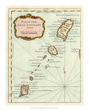 Petite Map of the Antilles Islands II Giclee Print