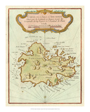 Petite Map of Island of Antigua Giclee Print