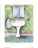 Sink With Blue Towels Prints by Dona Turner