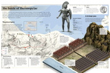 Infographic About the Battle of Thermopylae, in the Year 480 B.C. in the Current Greece Posters