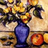 Blue Vase Of Yellow Peonies Posters af Nicole Etienne
