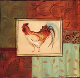 Patchwork Rooster II Posters by Jennifer Sosik