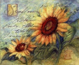 Sunflowers On Blue Print by Susan Winget