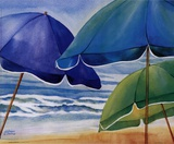 Seaside Umbrellas Poster by Kathleen Denis