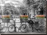 Typical Amsterdam - Panoramic View Stretched Canvas Print by Melanie Viola