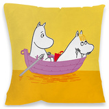 Momintroll and Snorkmaiden on a Boat Cushion Throw Pillow
