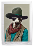 Pets Rock Cowboy Tea Towel Novelty