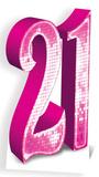 Party - Pink Number 21 Cardboard Cutout Pappfigurer