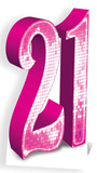 Party - Pink Number 21 Cardboard Cutout Figura de cartón