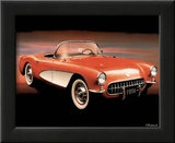 1956 Red Corvette Poster by T Richard