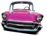Party - Pink Car (Large) Cardboard Cutout Silhouettes découpées en carton