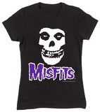Juniors: The Misfits- Fiend Skull Purple Logo T-Shirts
