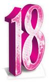 Party - Pink Number 18 Cardboard Cutout Pappfigurer