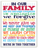 In Our Family Rainbow Typography Wood Sign