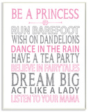 Be a Princess Pink Typography Wood Sign