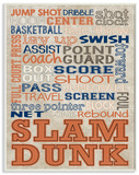 Orange and Navy Basketball Typography Wood Sign