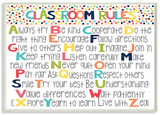 Classroom Rules Colorful Alphabet Wood Sign