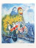 Le coq avec le bouquet jaune Premium Edition by Marc Chagall