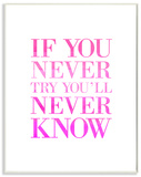 If You Never Try You'll Never Know Wood Sign